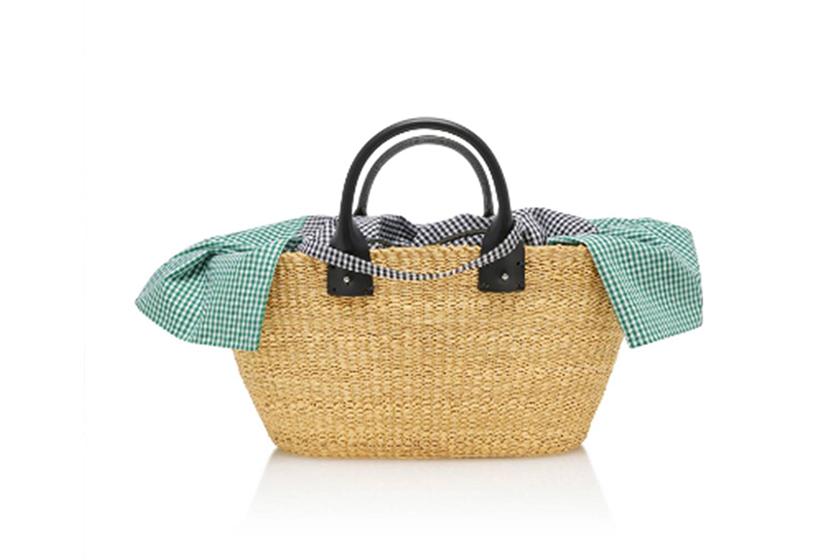 Muuñ Giorgio Vichy Pouch Straw Bag