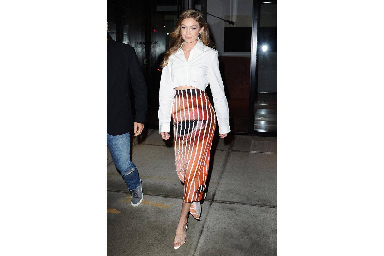 Gigi Hadid White Shirt Skirt Smile