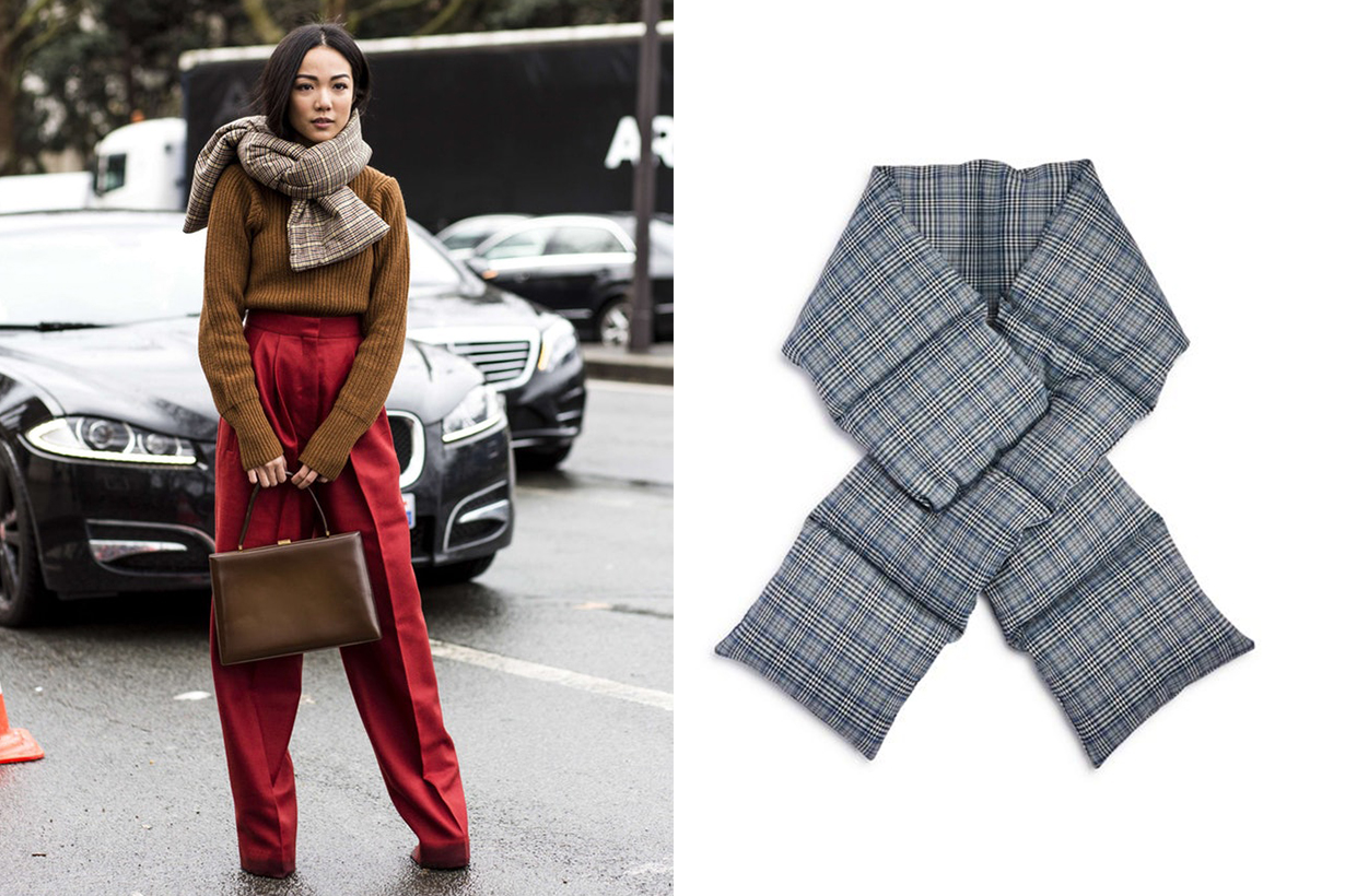 How To Wear a Scarf Plaid Puffer Scarf Winter Street Style