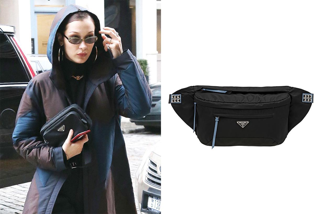 Prada Nylon Belt Bag Bella Hadid Street Style