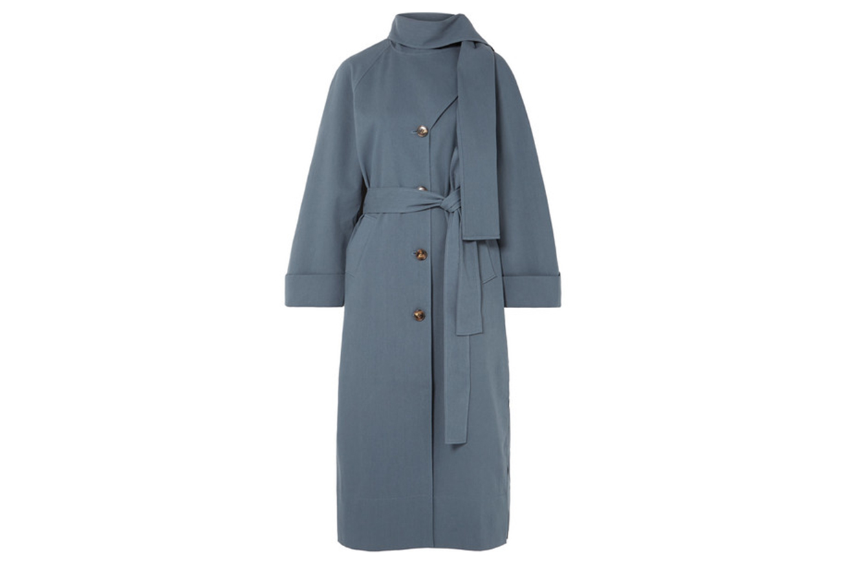Riley belted cotton-blend trench coat