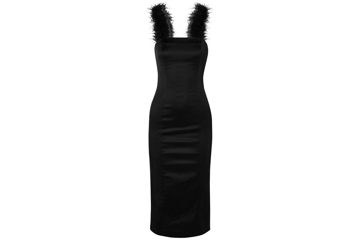 Staud Romy Feather-Trimmed Stretch-Satin Dress