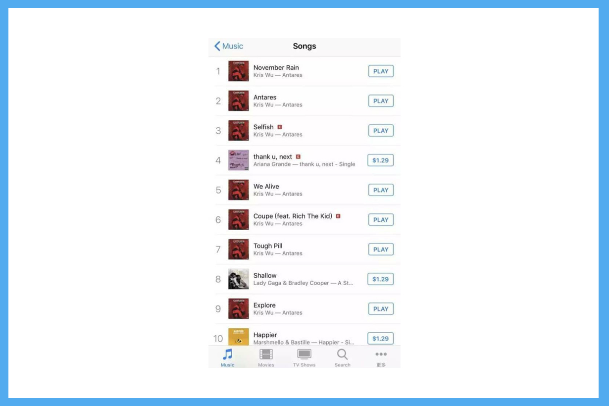Kris Wu Yi Fan Antares Lady Gaga Ariana Grande Scooter Braun ITunes Best 10 selling songs comments