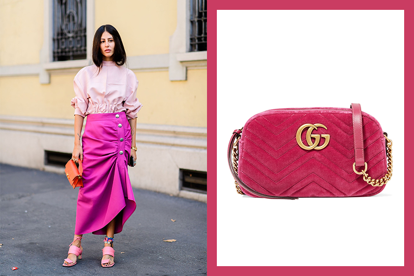 winter-color-trends-Magenta Gucci GG Marmont velvet shoulder bag