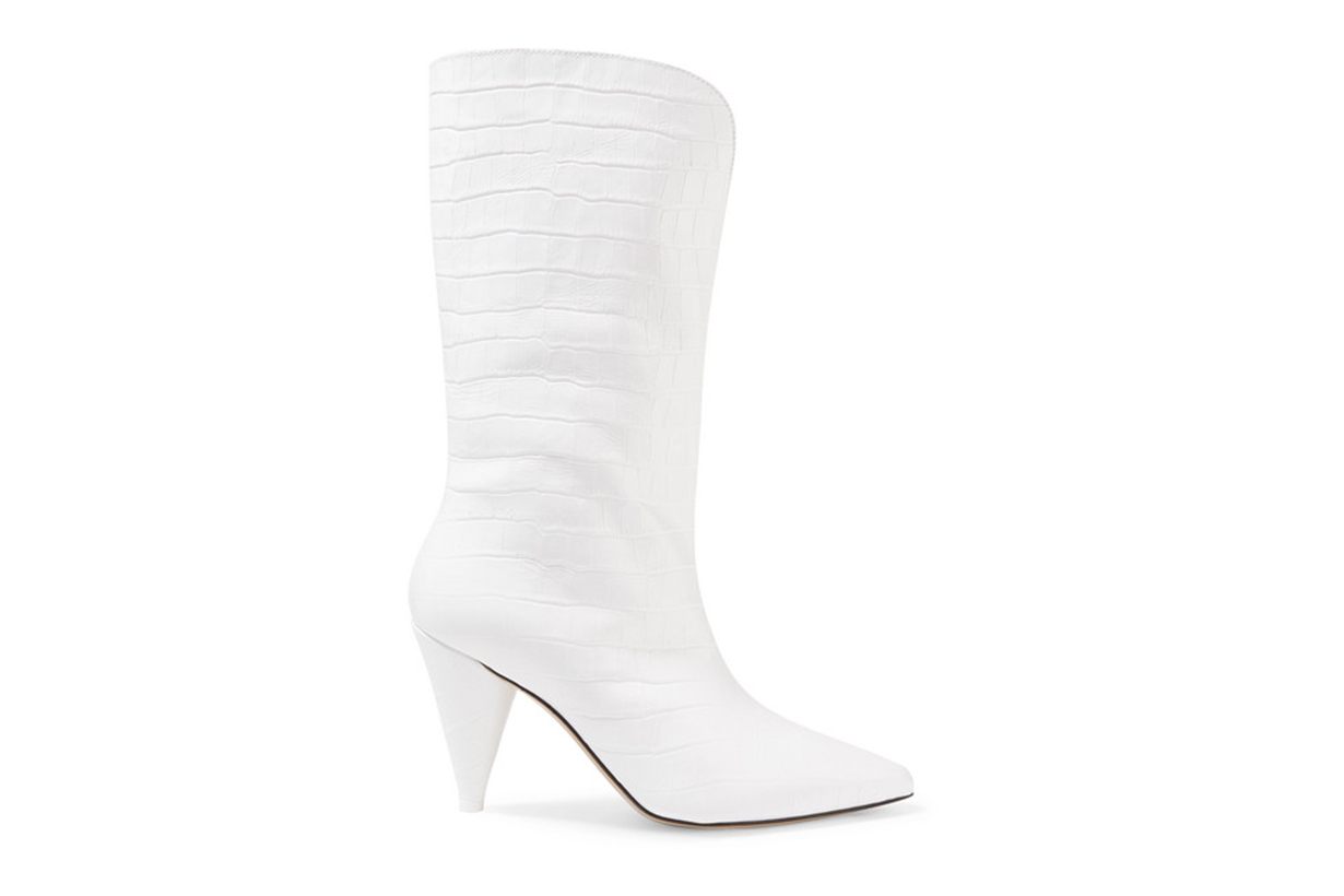 Attico Betta Croc-Effect Leather Knee Boots
