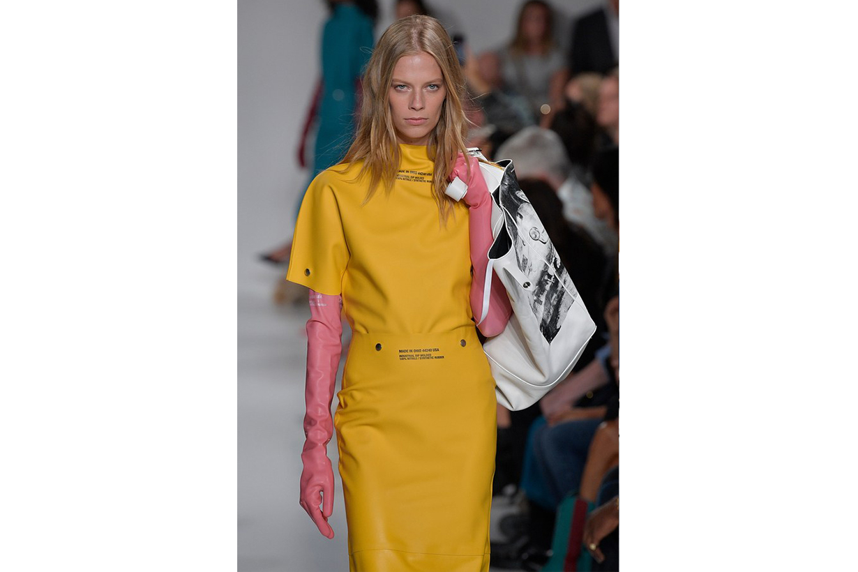 Detail of Lexi Boling in Raf Simons's spring/summer 2018 collection for Calvin Klein, shown during New York Fashion Week,