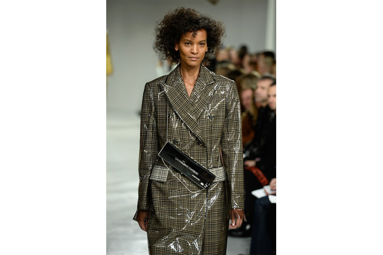 Detail of Liya Kebede in Raf Simons's fall/winter 2017 collection for Calvin Klein, shown during New York Fashion Week