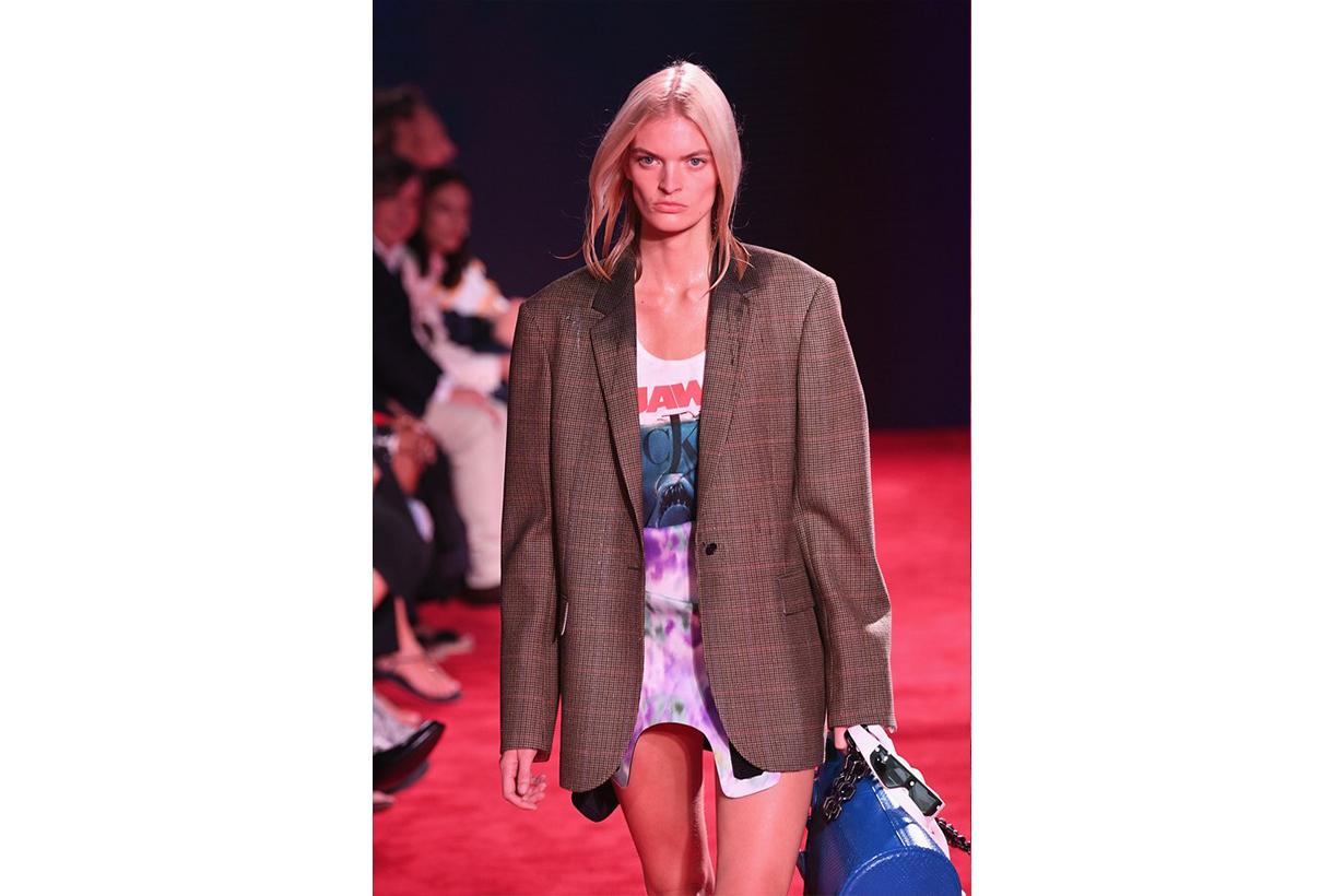 Detail of Juliane Gruner in Raf Simons's spring/summer 2019 collection for Calvin Klein, shown during New York Fashion Week