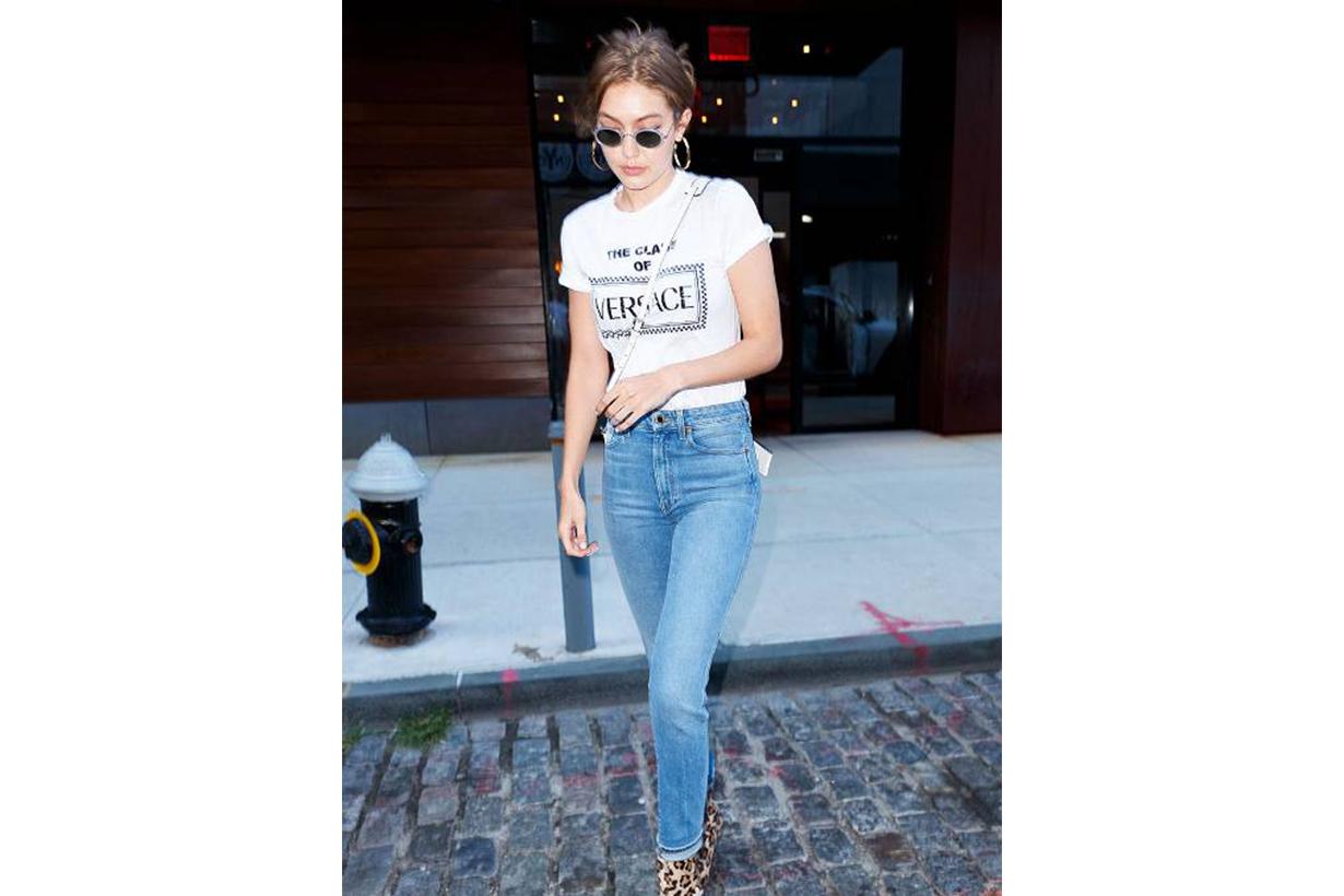 Gigi Hadid Skinny Jean Versace T-shirt Street Style