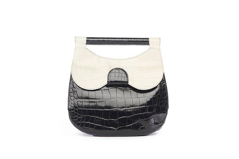 Staud Mini Madeline Bag in Black and Cream