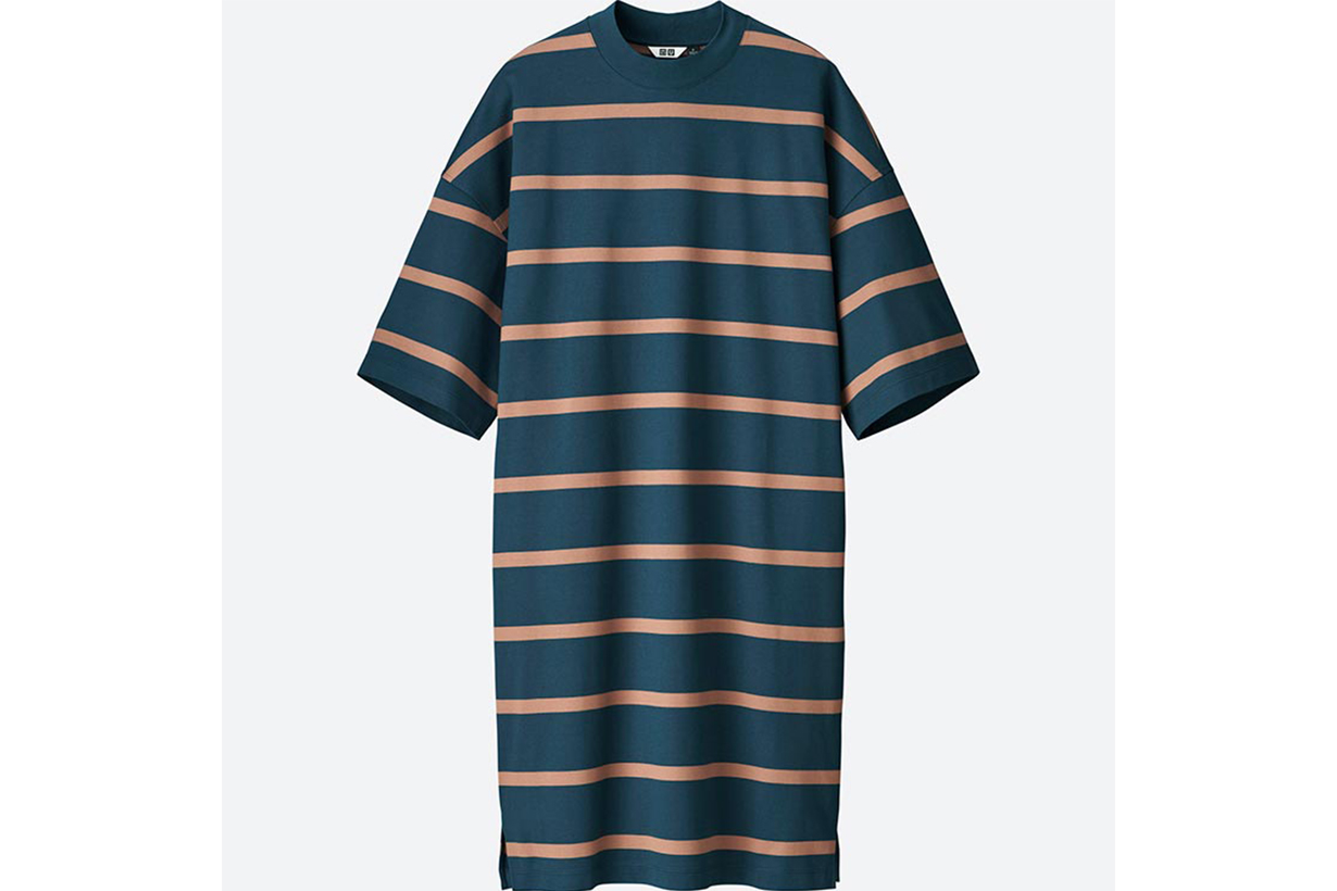 WOMEN U OVERSIZED STRIPED HALF SLEEVE T-SHIRT DRESS