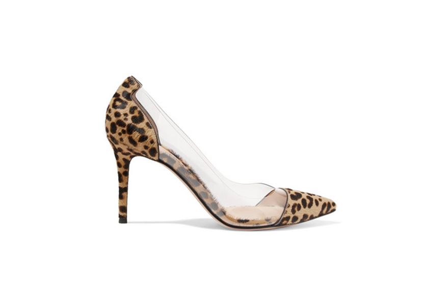 Gianvito Rossi Plexi 85 Leopard-Print Calf Hair and PVC Pumps