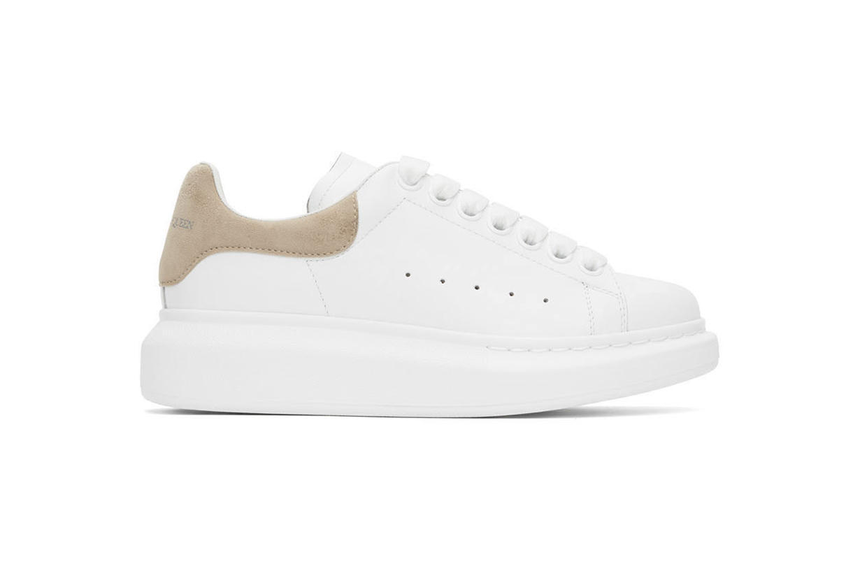 ALEXANDER MCQUEEN SSENSE Exclusive White & Taupe Oversized Sneakers