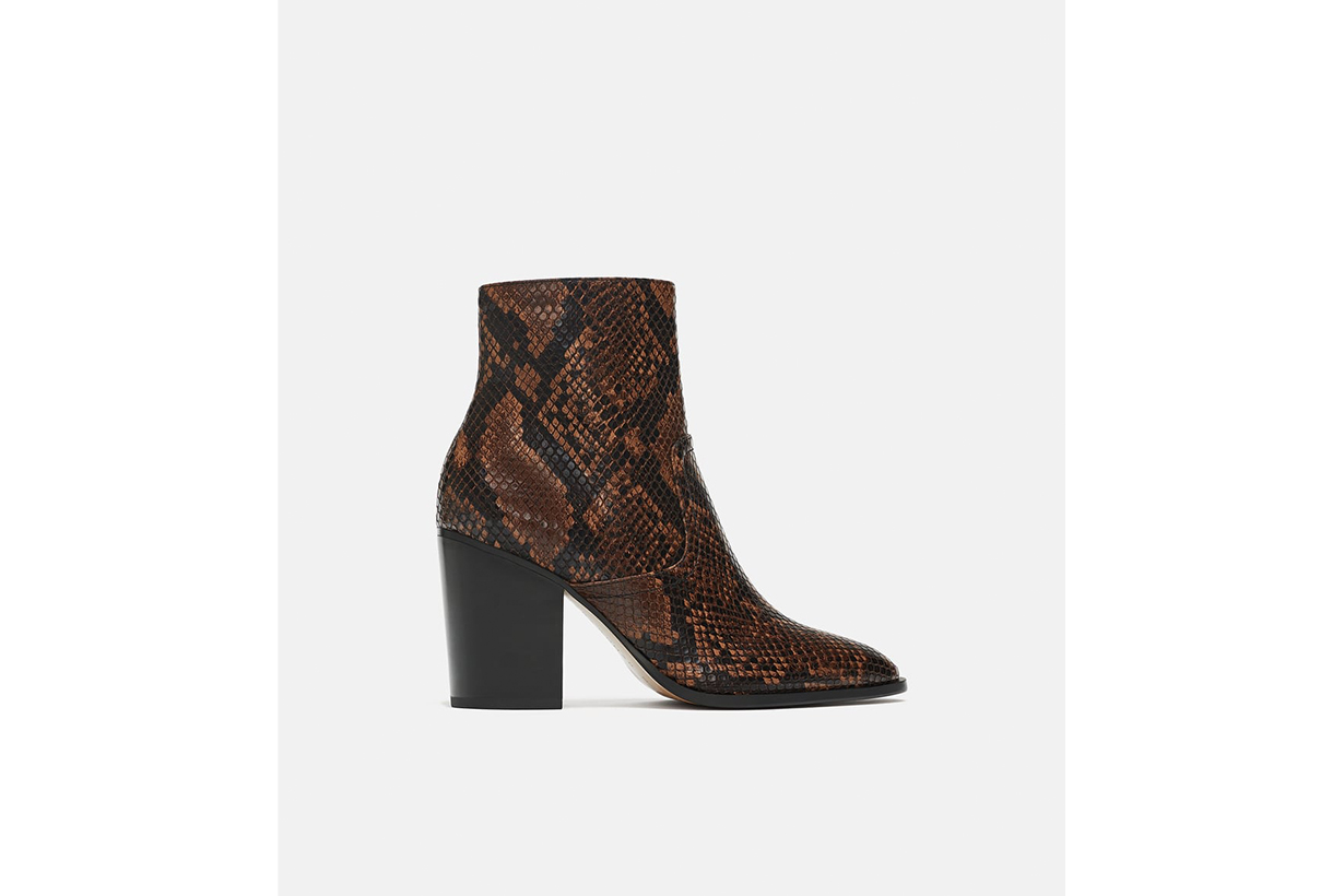 Zara Animal Print High Heel Ankle Boots