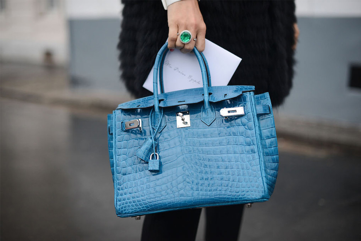 Blue Hermes Bags Street Style