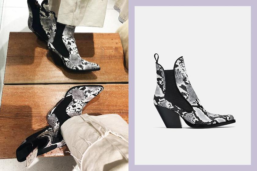 Zara snake-skin- ankle boots