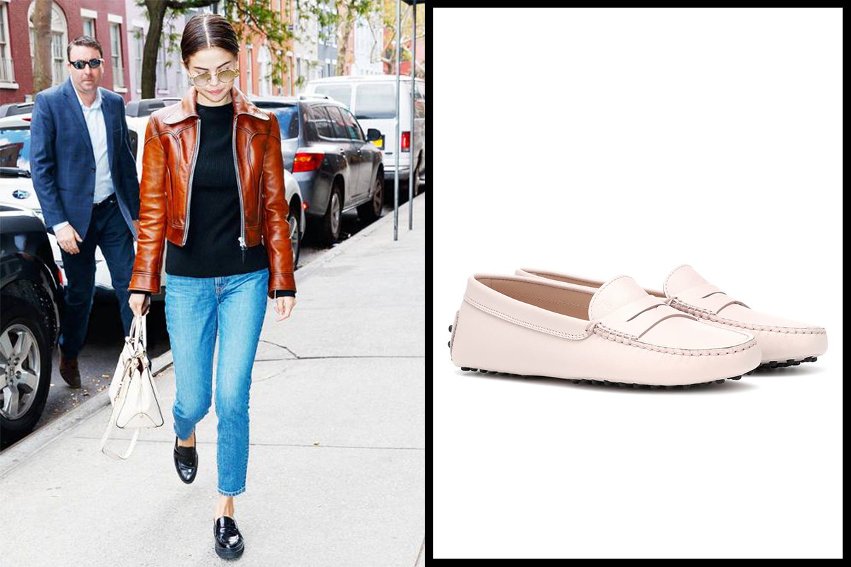 Tod's Gommino Leather Loafers Selena Gomez