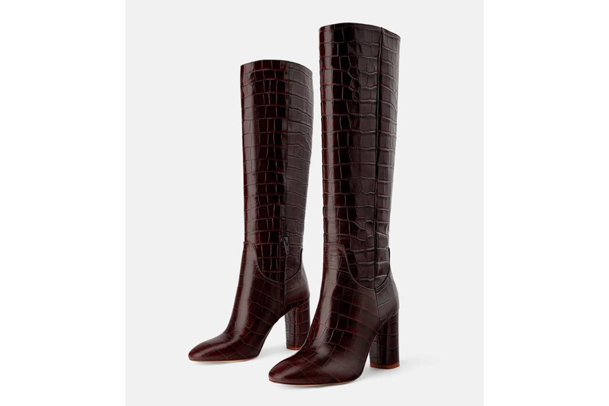 Zara Animal Print Leather Heel Boots