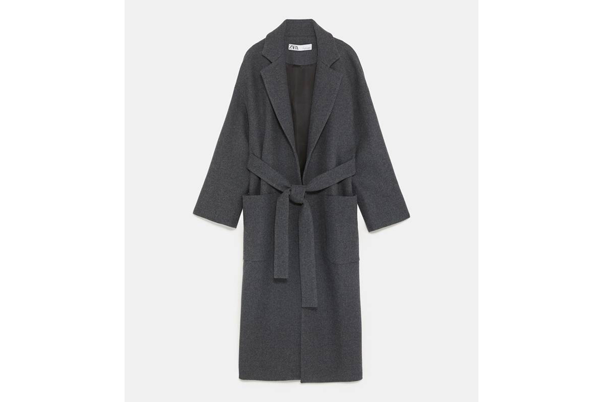 Zara Double Breasted Belted Coat