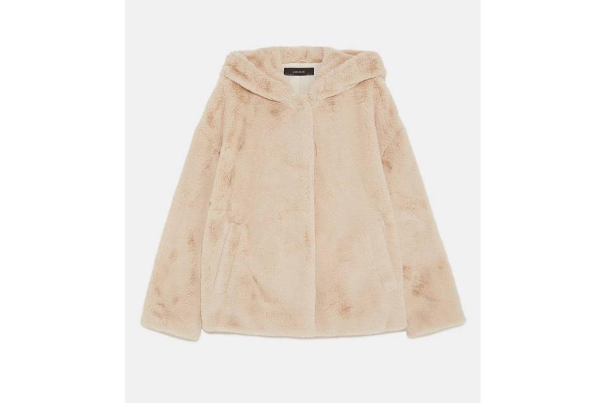 Zara Hooded Faux Fur Jacket