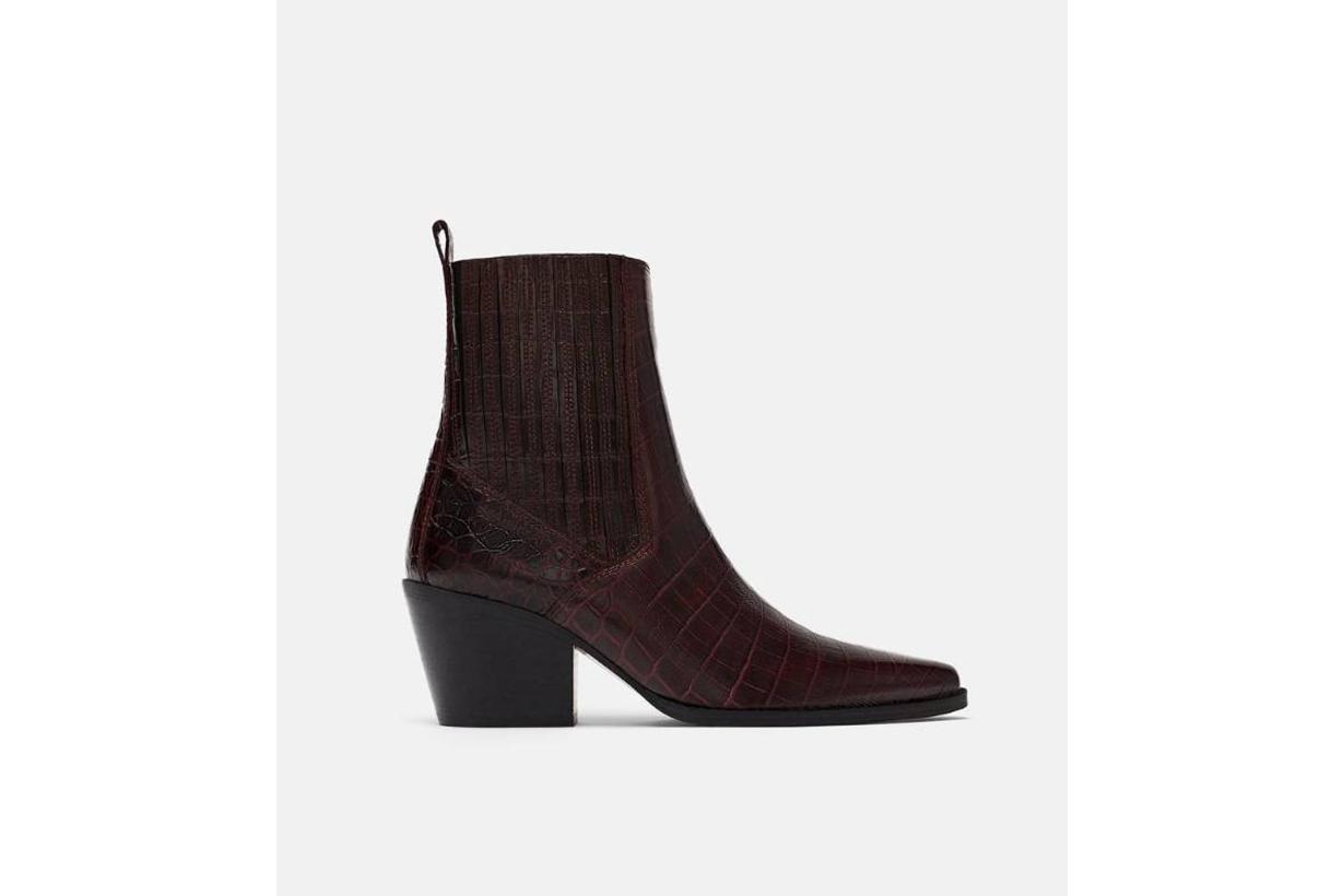 Zara Mock Croc Print Ankle Boots
