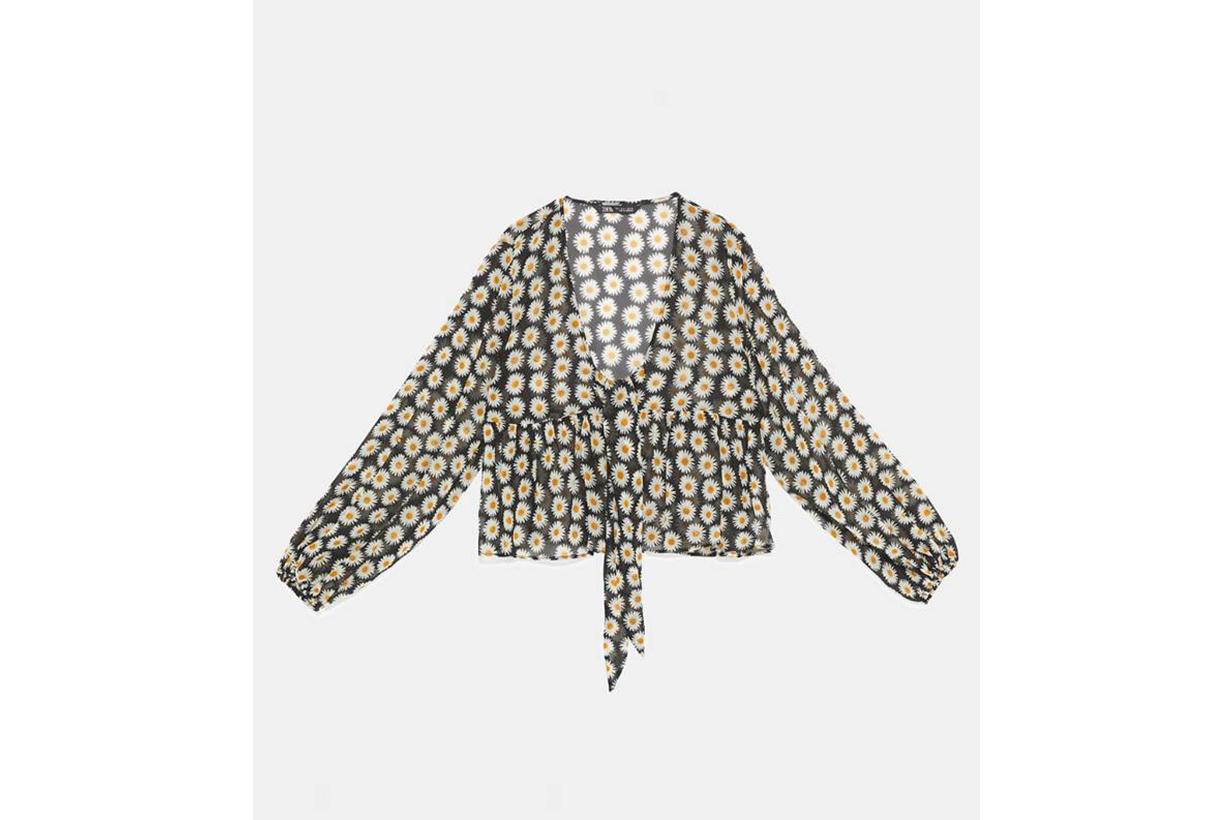 Zara Ruffled Floral Print Blouse