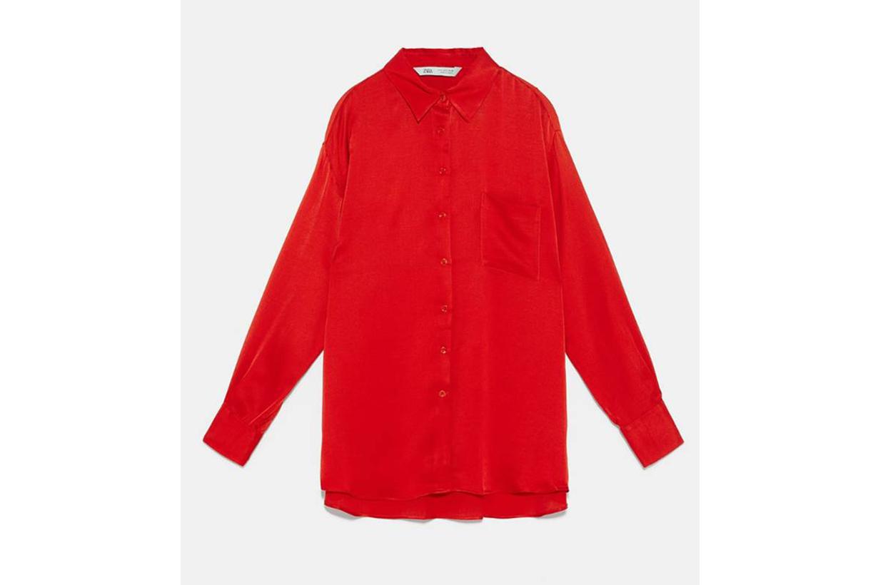 Zara Satin Finish Blouse with Pocket