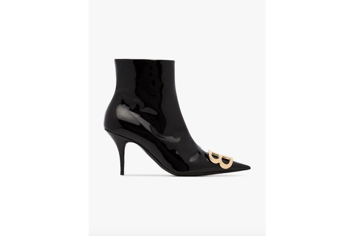 Balenciaga Black BB 80 Patent Leather Booties