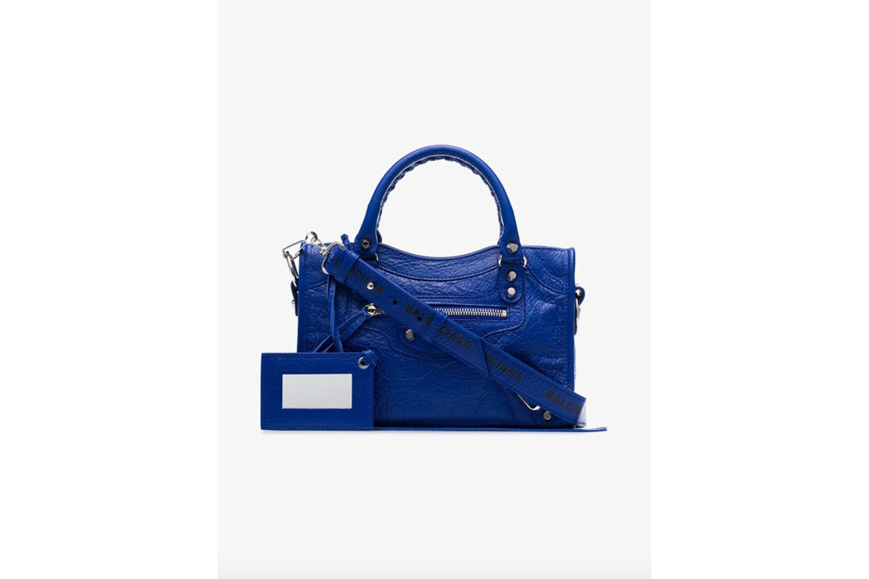 Balenciaga Blue City Mini Leather Shoulder Bag