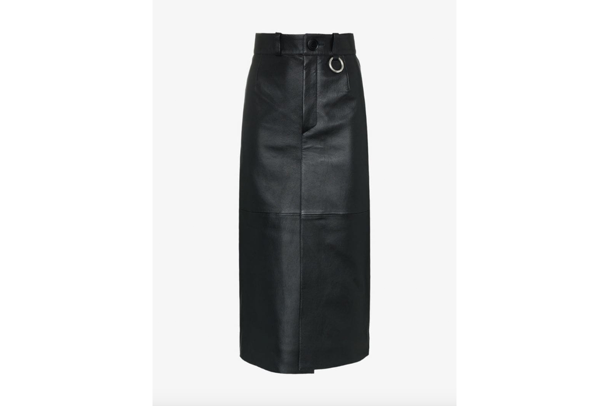 Balenciaga High Waisted Leather Midi Skirt