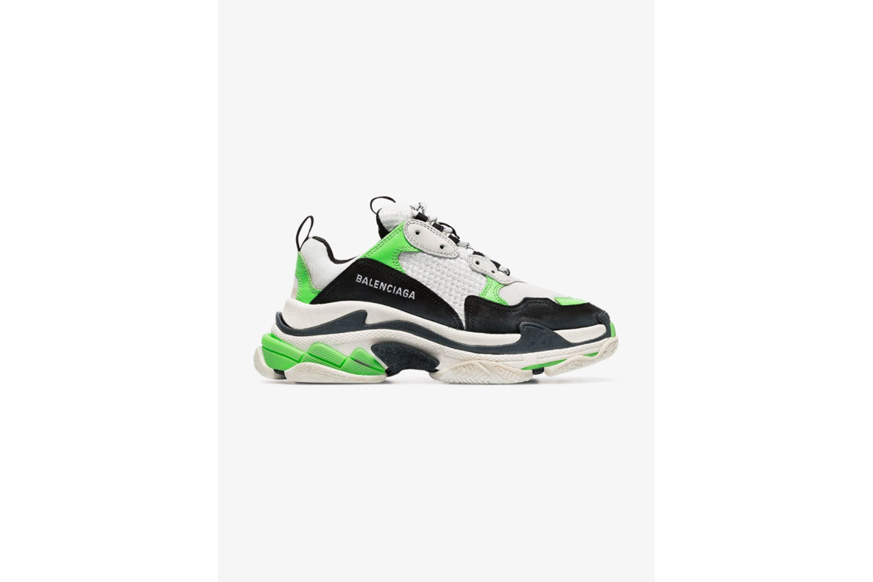 Balenciaga Neon Green And Black Triple S Sneakers