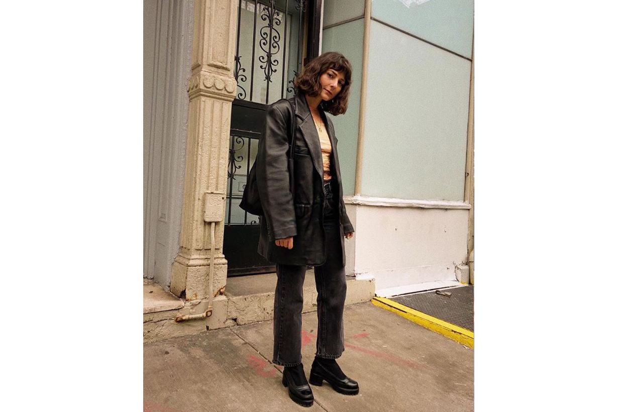 Leather Blazer Black Jeans