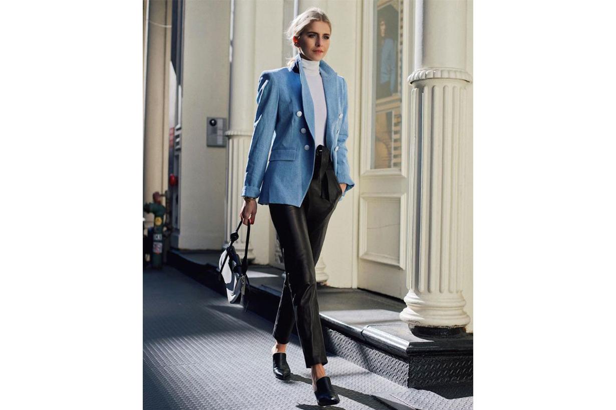 Colour Blazer Leather Pants
