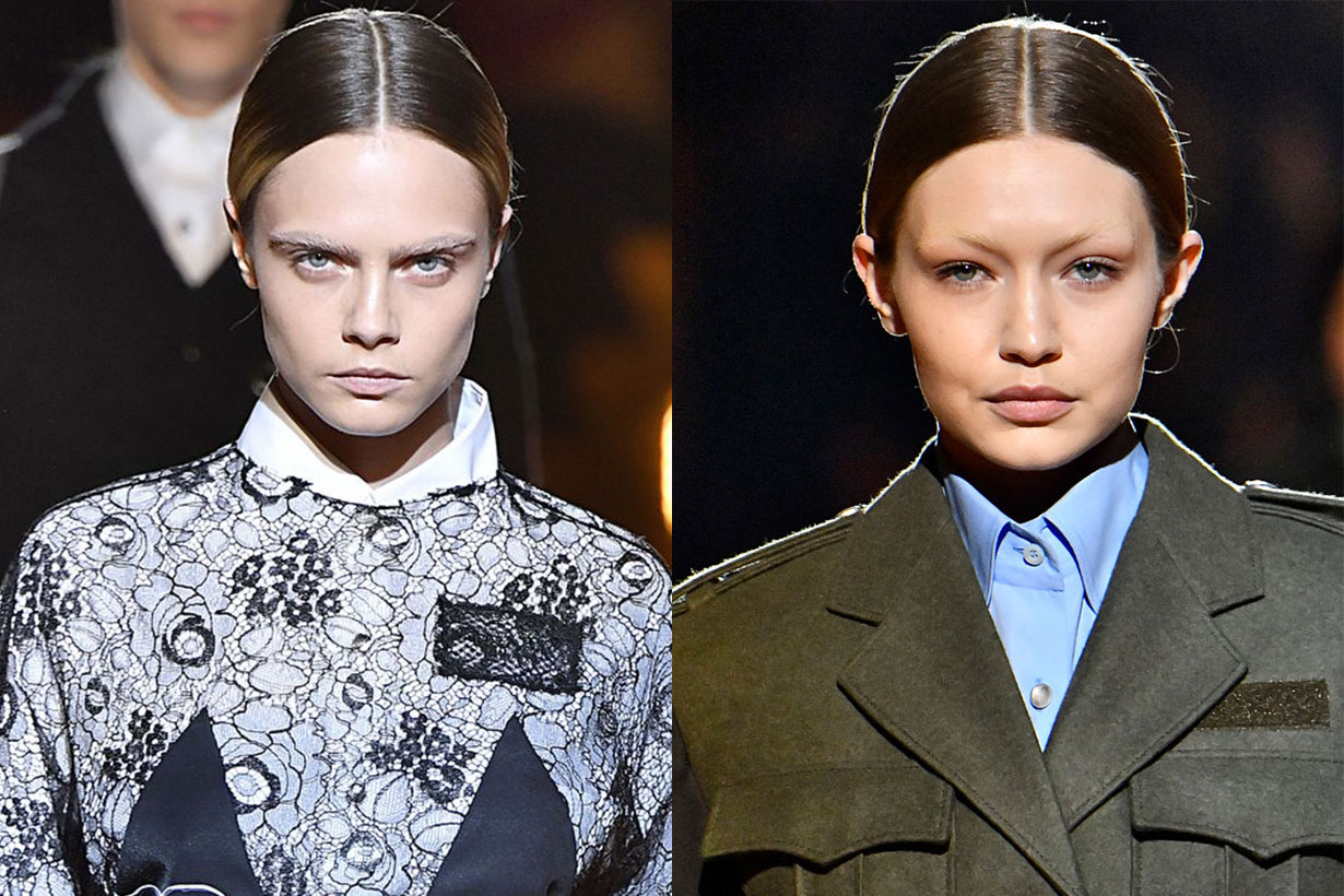 cara delevingne gigi hadid without eyebrows