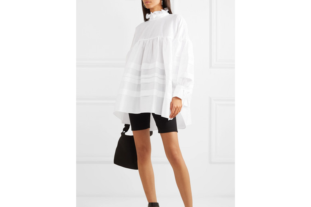 Cecilie Bahnsen Alberte Oversized Bow-Detailed Poplin Shirt Dress