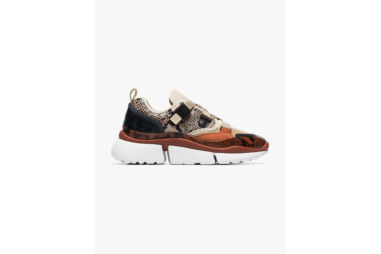 Chloé Multicoloured Sonnie Snake Print Canvas And Suede Leather Sneakers
