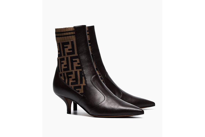 Fendi Brown FF Logo 45 Stretch Leather Booties