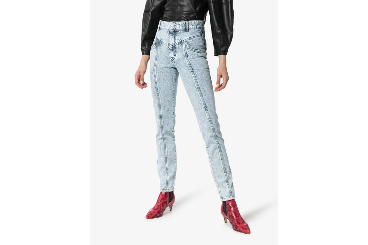Isabel Marant Lorricka Acid Wash Seam Detail Skinny Jeans