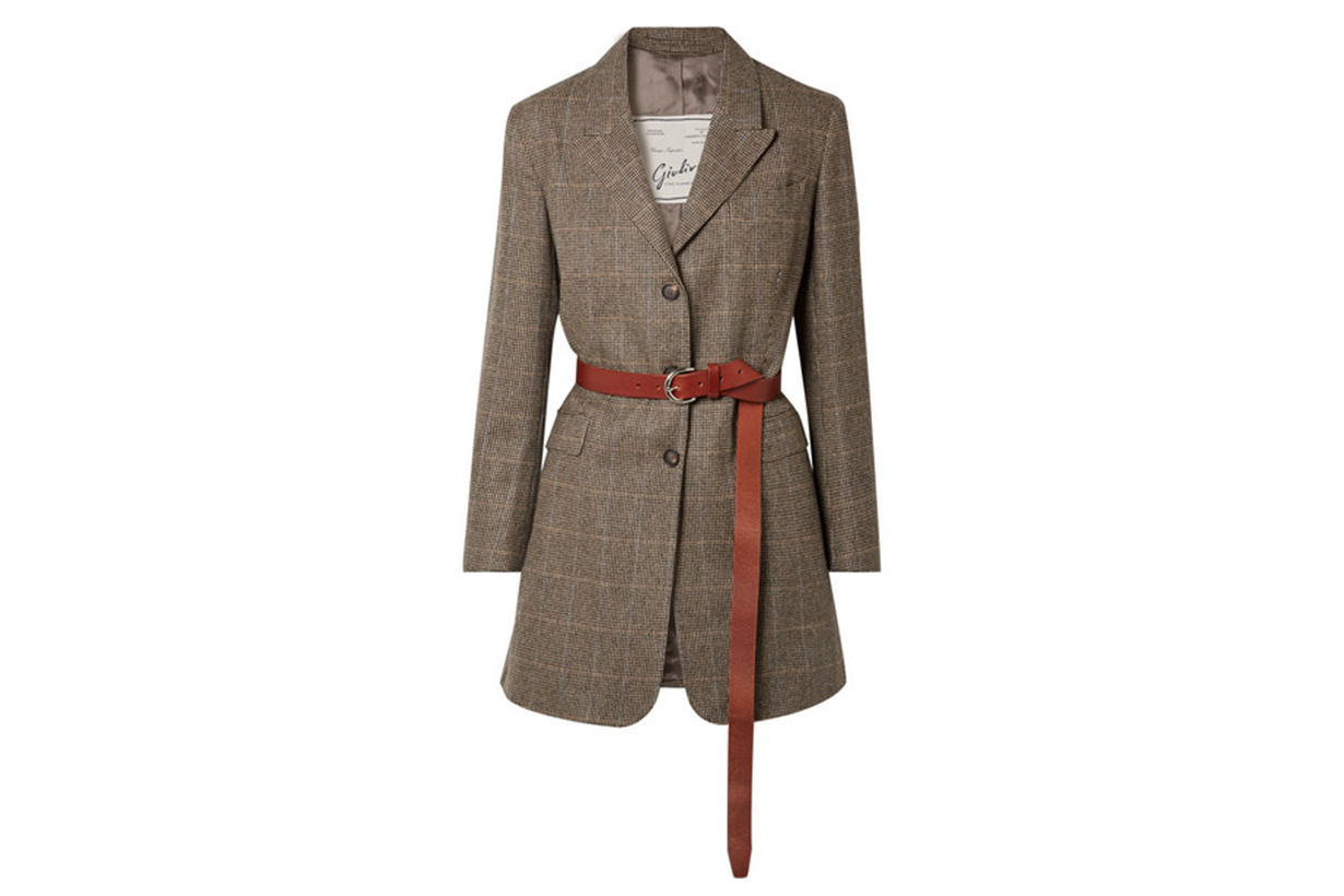 Giuliva Heritage Collection Karen Belted Herringbone Merino Wool Blazer