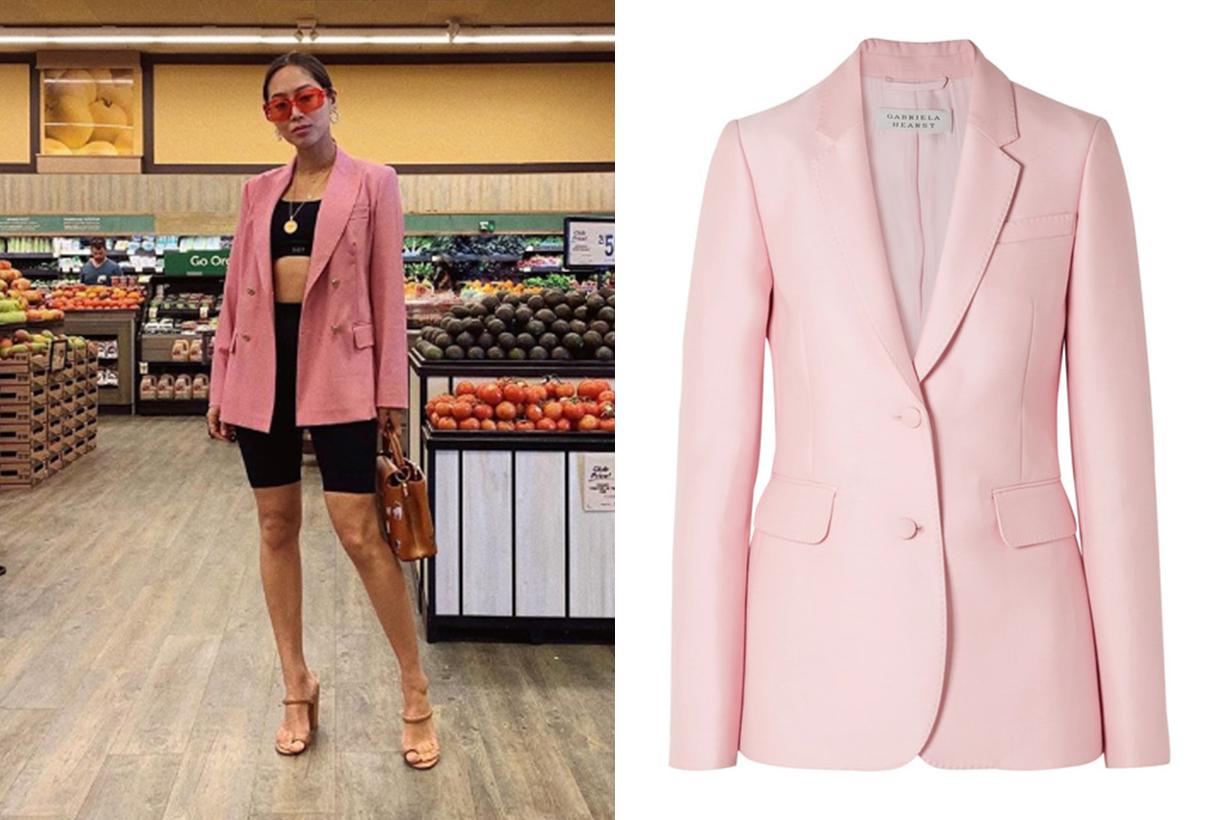 Pink Blazer Gabriela Hearst Sophie Wool and Silk-Blend Blazer
