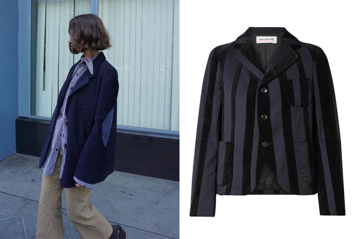 Comme Des Garcons GIRL Striped Wool-Blend and Velvet Blazer