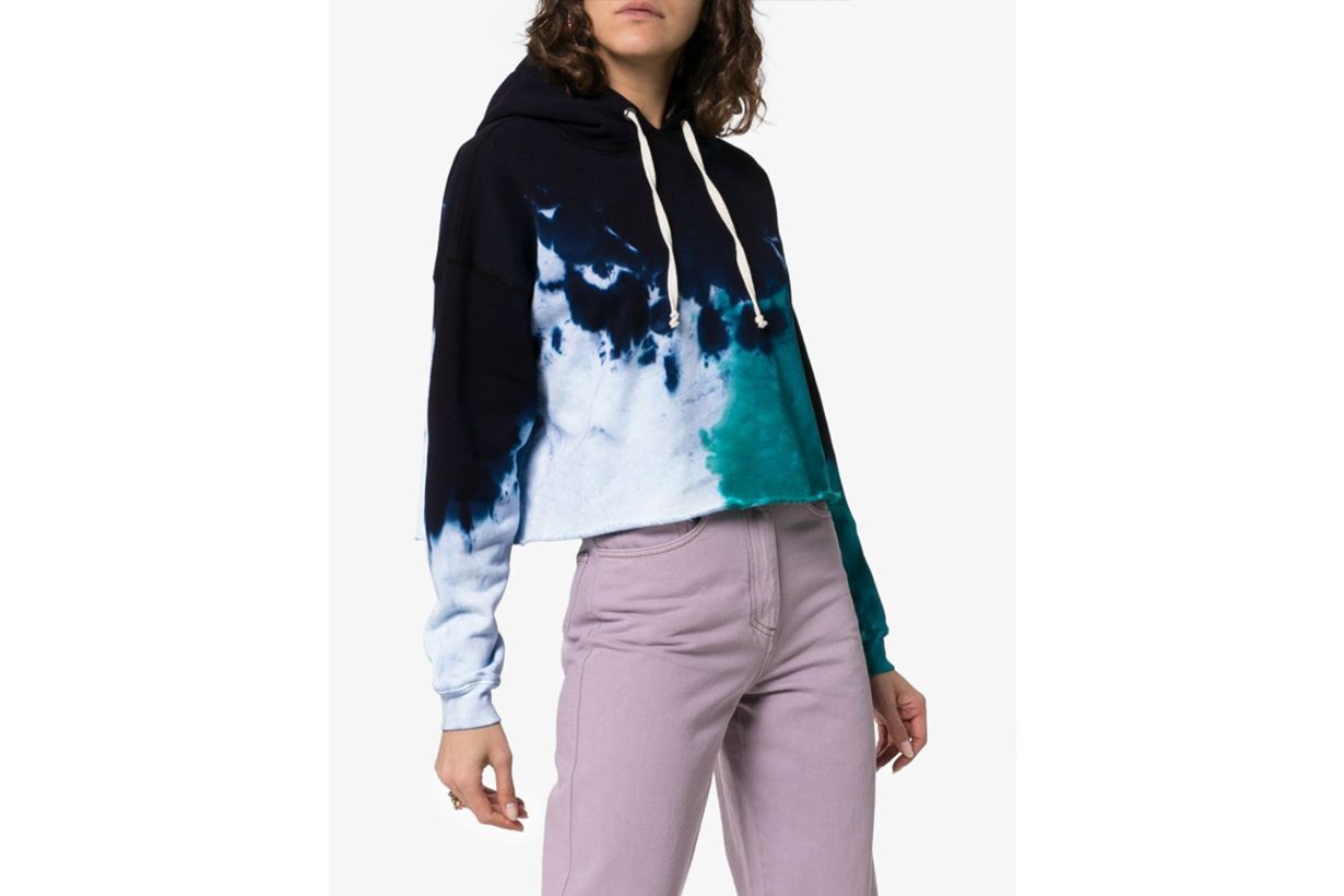 Re/Done Tie Dye Cotton Cropped Hoodie