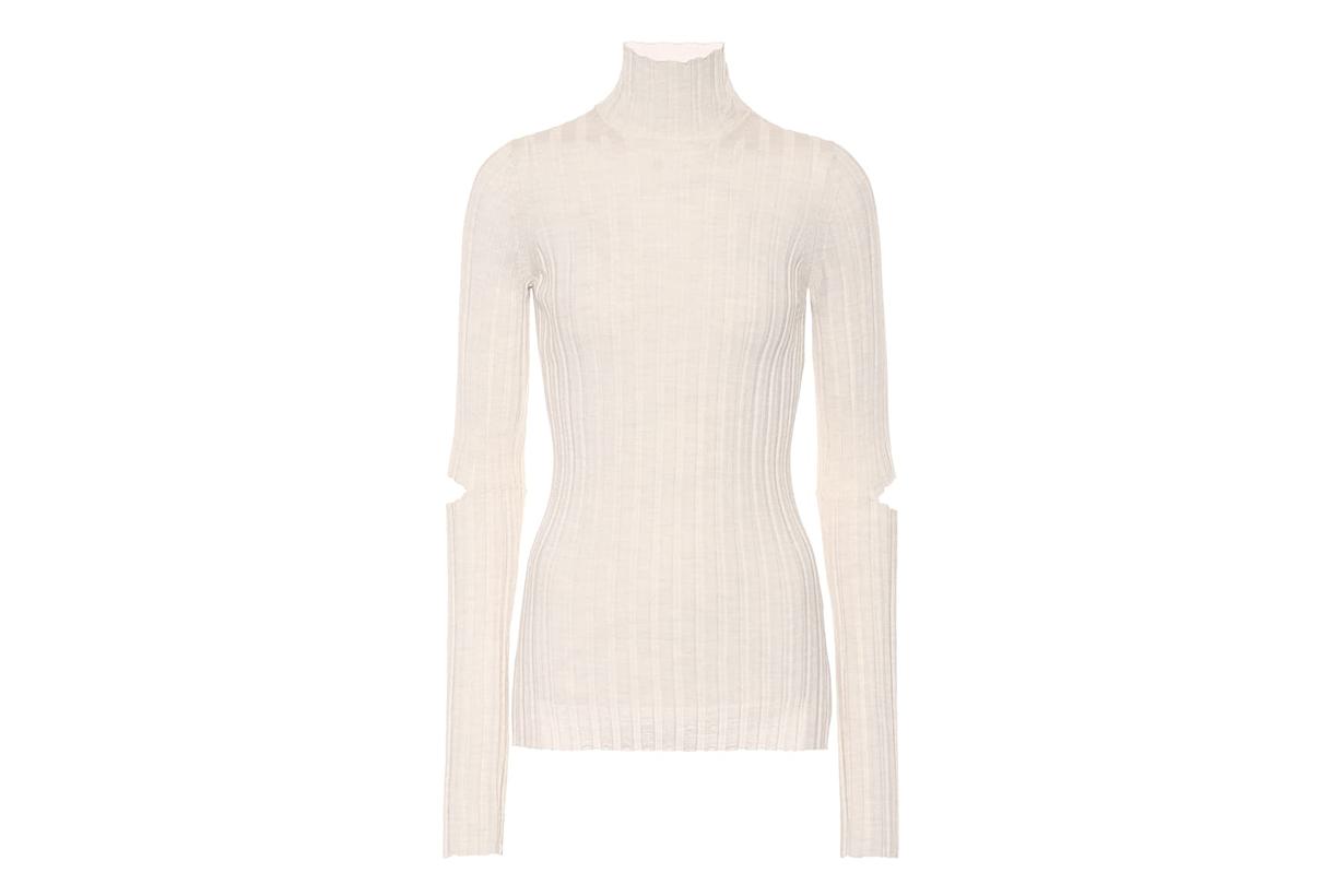 Helmut Lang Ribbed Turtleneck Wool Sweater