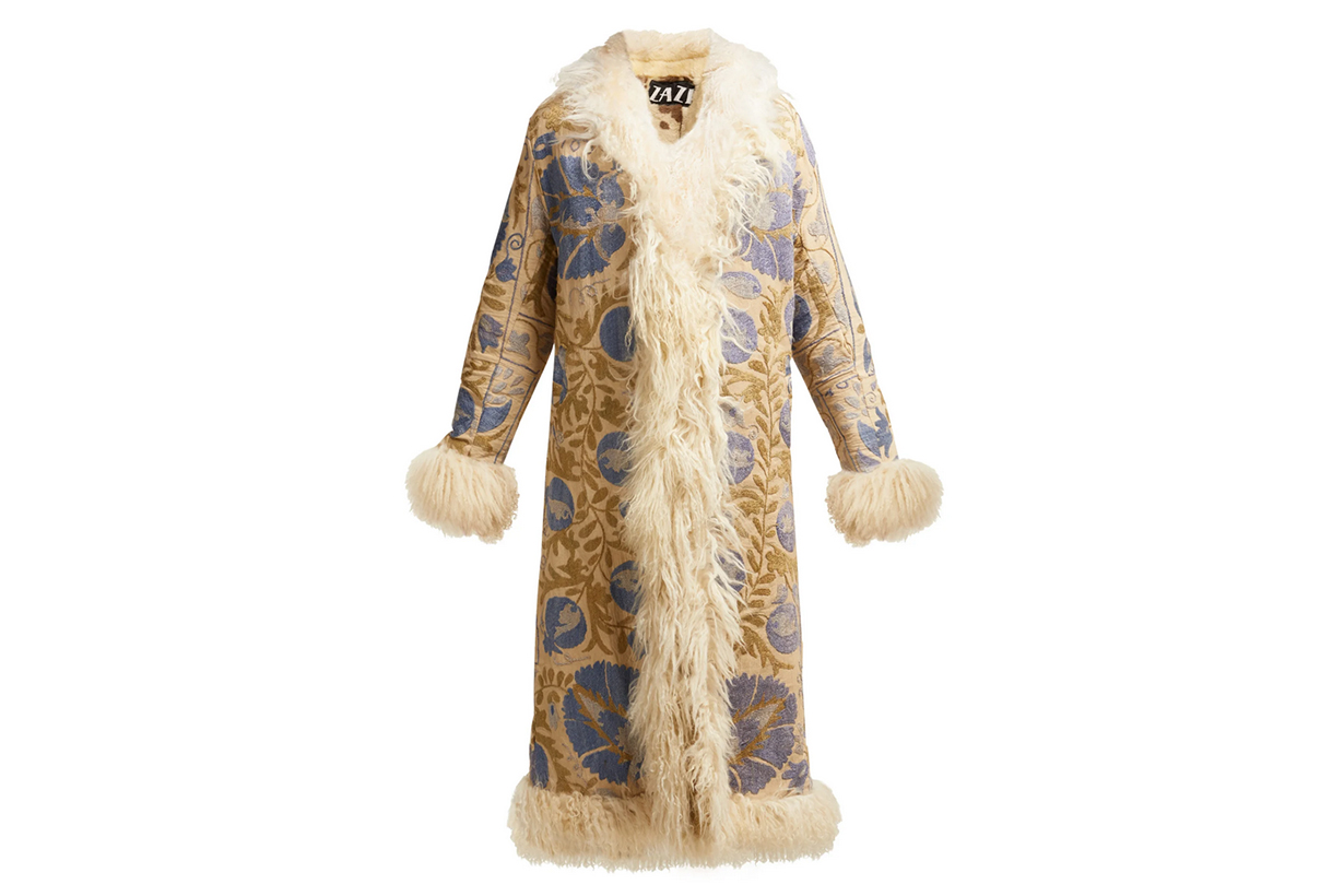 Zazi Vintage Suzani Embroidered Shearling Coat