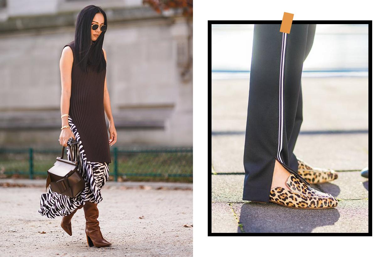 Zebra Prints Dress Leopard Prints Shoes Street Style
