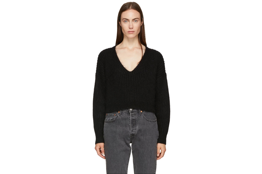 3.1 Phillip Lim Black Mohair Cropped Sweater