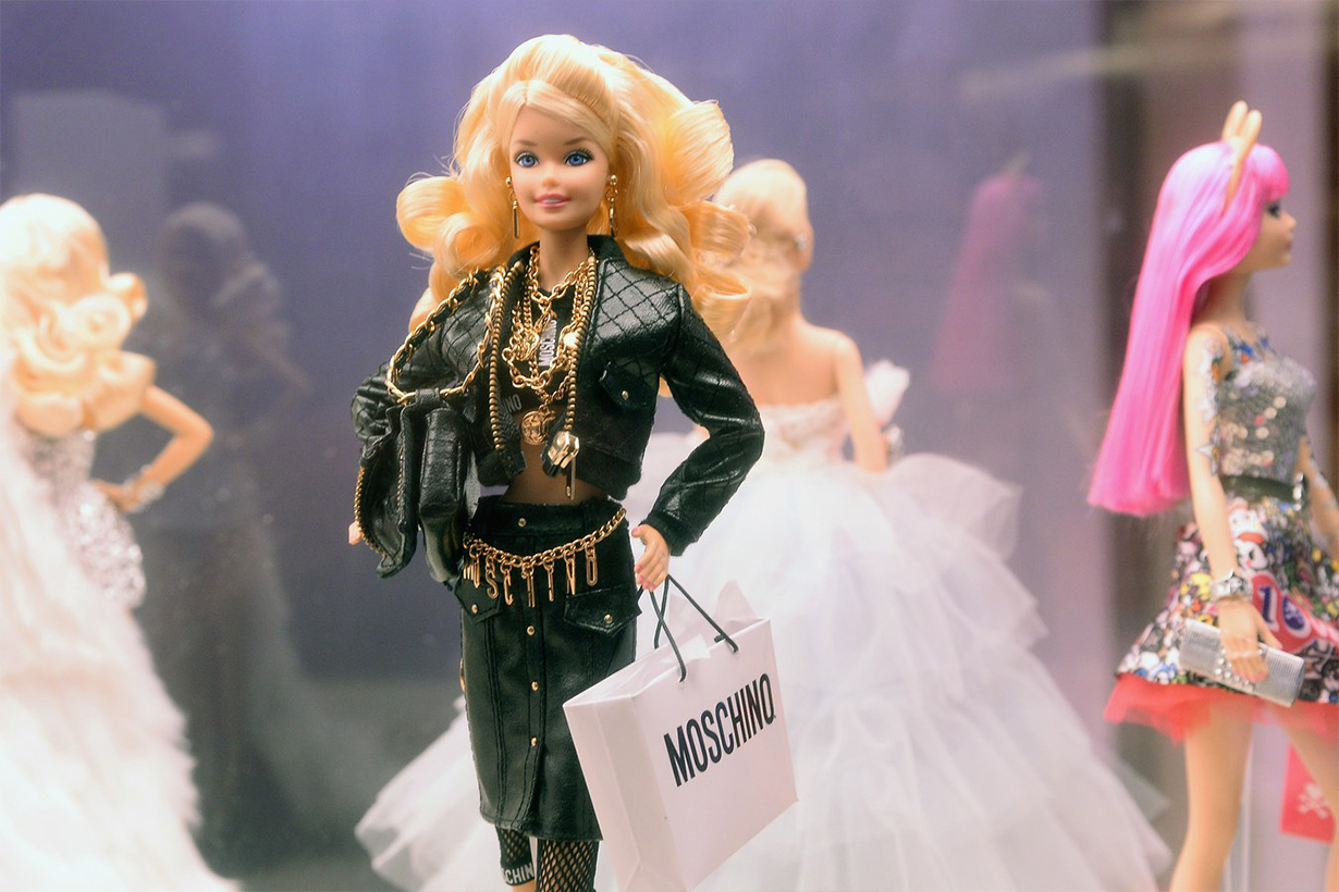 A Barbie doll wearing Moschino