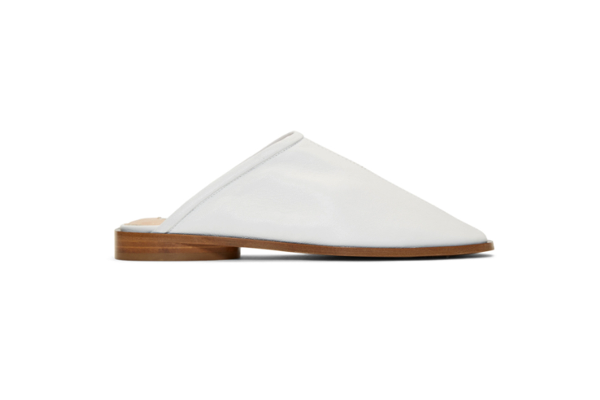 Acne Studios White Leather Beryl Slippers