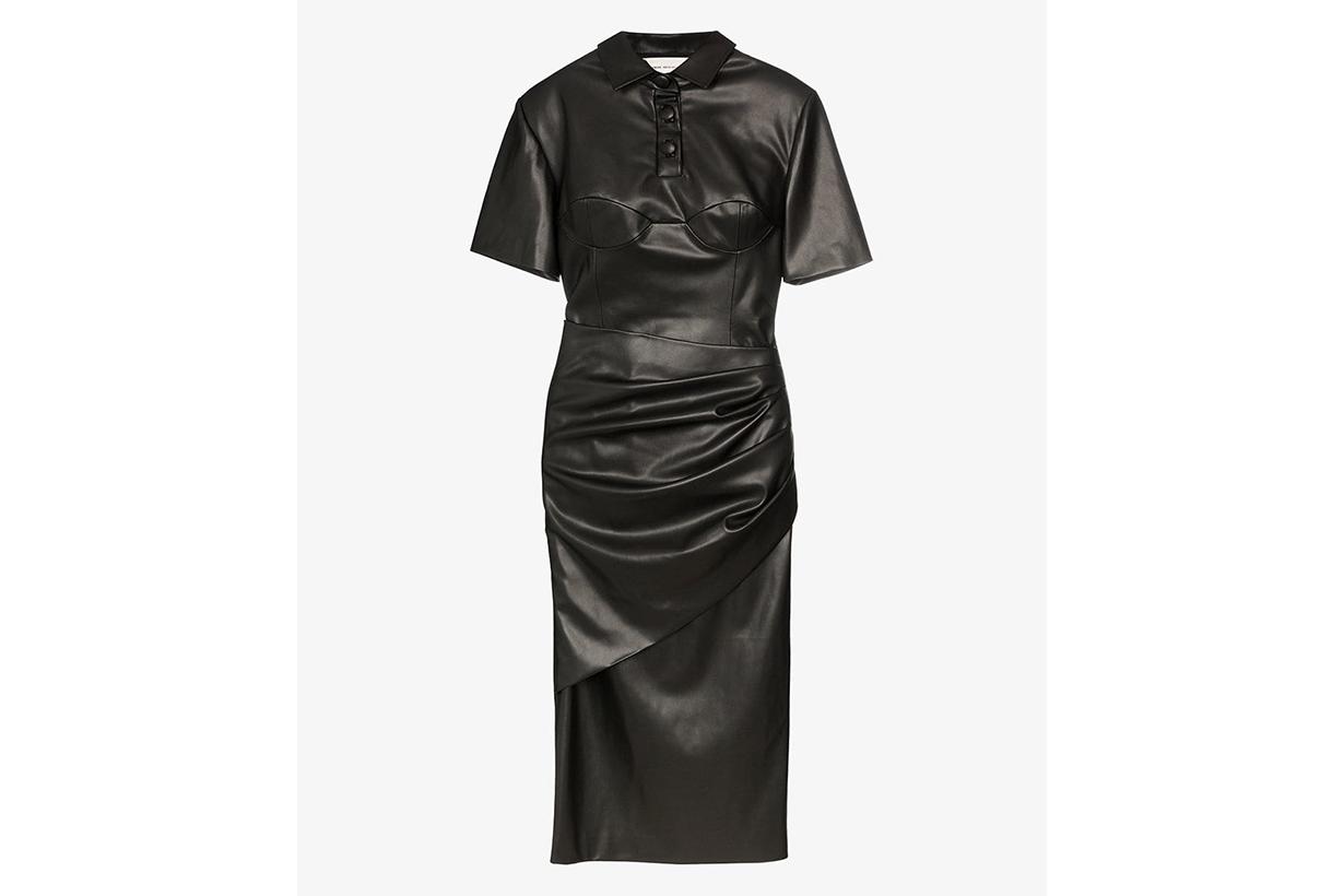 Aleksandre Akhalkatsishvili Faux Leather Shirt Dress