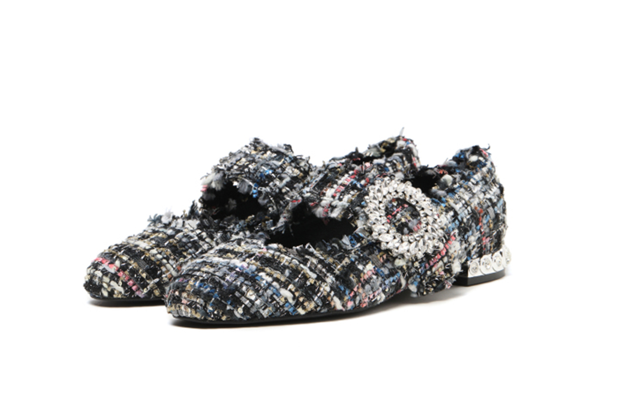 Jeffrey Campbell Tweed embellished ballerinas